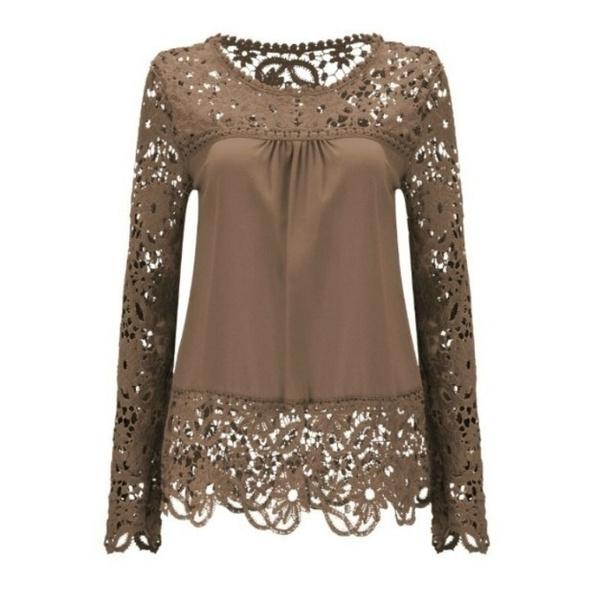 Women Sheer Sleeve Embroidery Lace Crochet Chiffon Shirt
