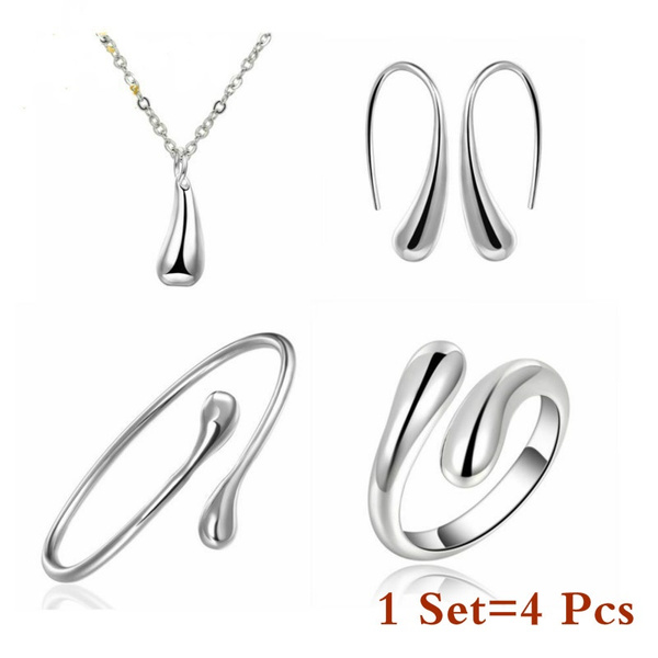 Eardrop Water Drop Big Hand Chain Bracelet Necklace Ring Hook Oval Earings Set