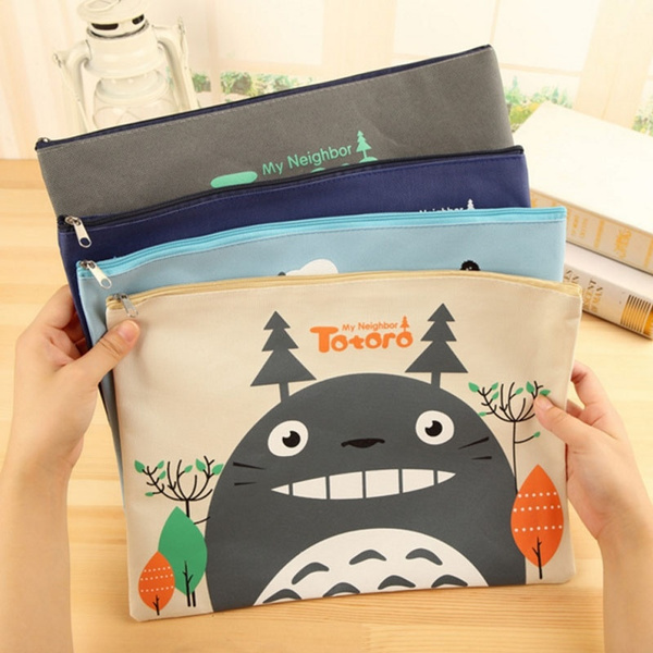 Picture of Cute Anime Cartoon Style My Neighbor Totoro Oxford Cloth Office Paper Bag Novelty Canvas Pencil Curtain Pencil Case Roll Stationery Bag Pencil Pen Case Ags Unique