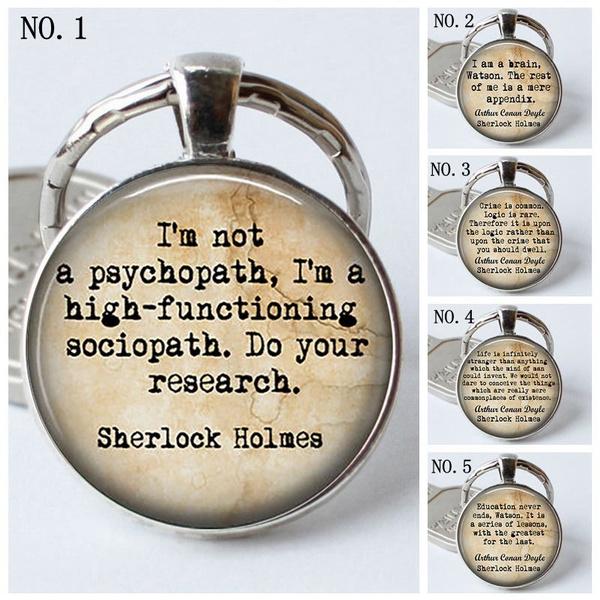 Sherlock Holmes Quote Pendant Keychain Fashion Keyring Inspirational Quotes  Jewelry