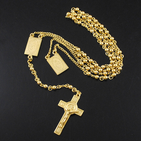 c65028bb111a7 AMUMIU 4mm Mens Chain Gold/Silver Stainless Steel Bead Chain Rosary Jesus  Christ Cross Pendant Long Necklace KN079
