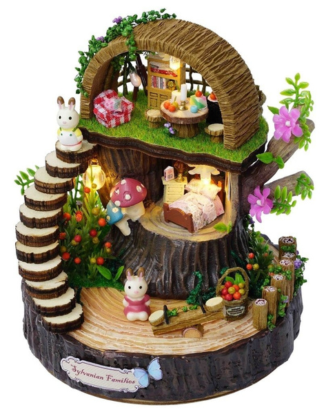 Picture of Miniature Fantasy Forest Dollhouse Furniture Kits Diy Wooden Dolls House With Music And Led Lights