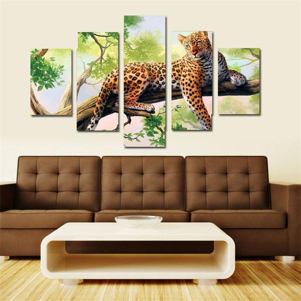 Wish | (unframed)5 Panel Leopard Canvas Printings Wall Decor Pinturas Em Telas A Oleo Leopard Canvas Art Cuadros Wall Prints For Living Room  sc 1 st  Wish & Wish | (unframed)5 Panel Leopard Canvas Printings Wall Decor ...