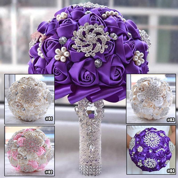 Picture of Bridal Bouquet Rhinestone Pearl Wedding Supplies