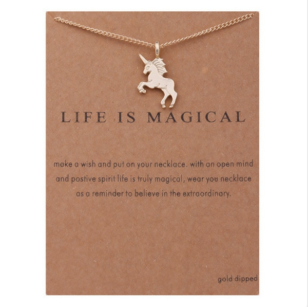 Picture of Fashion Jewelry Life Is Magical Unicorn Statement Necklace Women