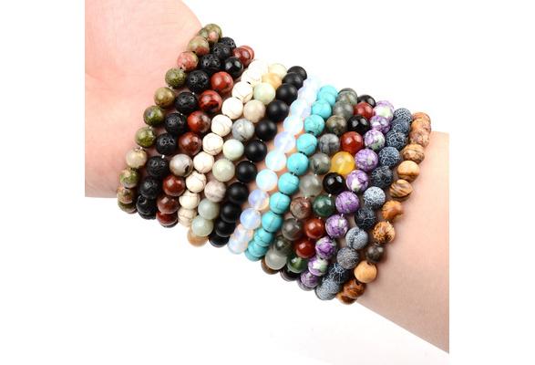 2018 New Natural Stone 6MM beads Bangle Bracelets,Mixed Stone,Energy Healing Stone,Yoga bracelet,Unisex