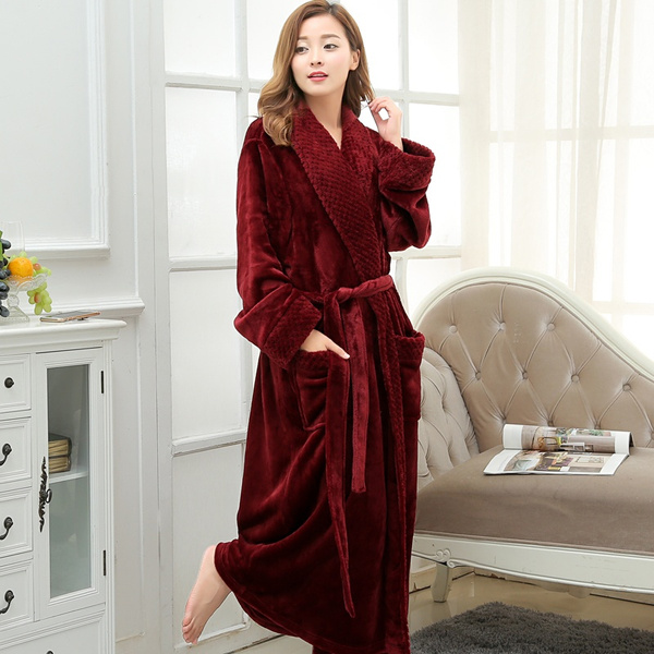 Wish | Hot Selling Women Super Soft Winter Warm Long Bath Robe ...