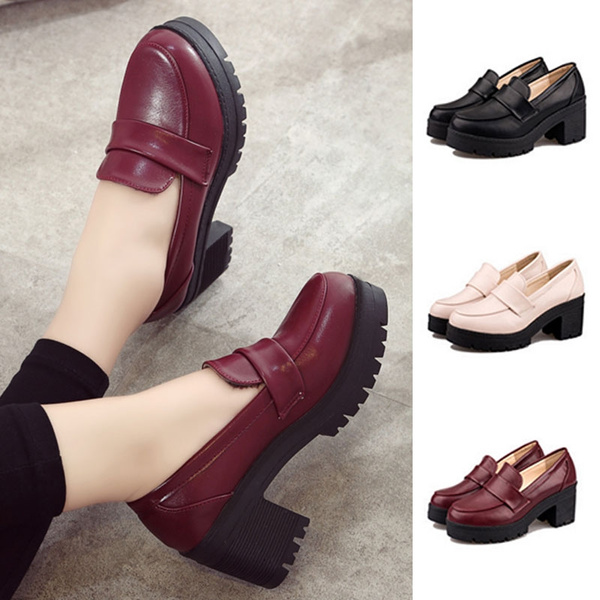 f608269f96 Bowknot Womens Lolita Retro Chunky Heels Pumps Slip On Shoes Cosplay ...