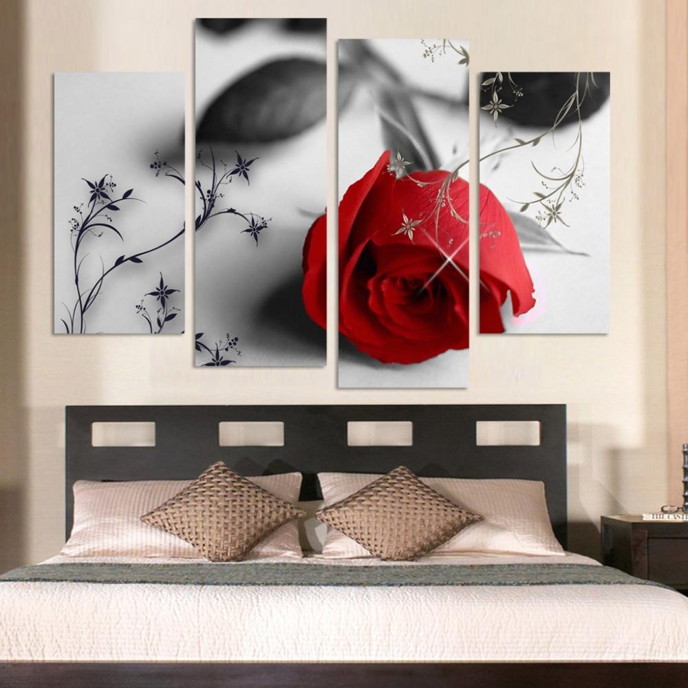 Großhandel 4 Stücke Heißer Verkauf Rote Blumen Wandkunst Leinwand ...