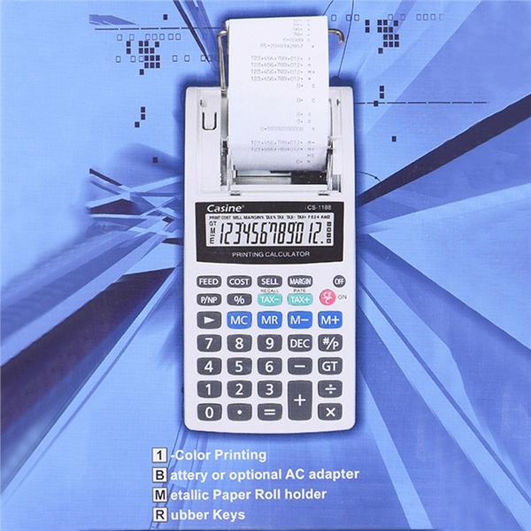 12-Digit Calculator EU Plug With Tax Rate Calculation / Percentage  Calculation / Subtotal / Total / Round-off Function