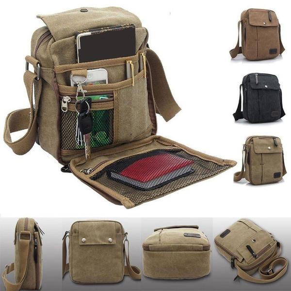 Men/'s Military Canvas Leather Satchel Shoulder Bag Vintage Messenger School Bag