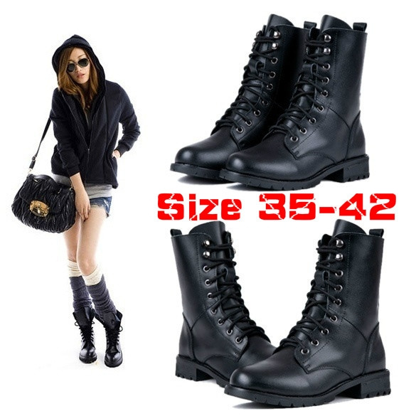 Picture of Women Ankle Booties Military Combat Boots Lace Up Cowboy Shoes