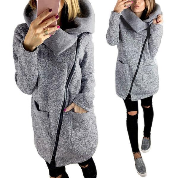 best website e728b 7387a S-5XL Damen Winter Warm Zip-up Hooded Sweatshirt Oversize Outwear Coat