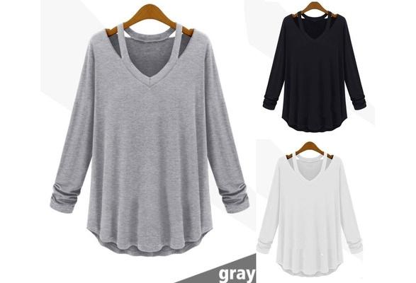 Women's Casual Cotton Long V Neck T Shirts