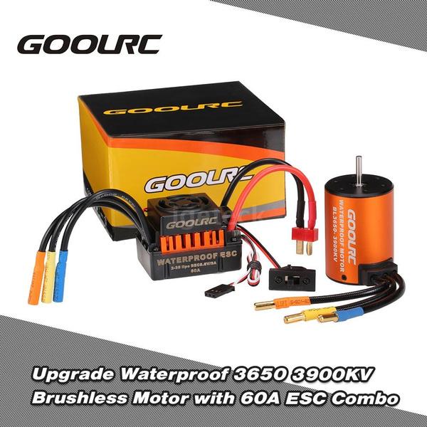 60A ESC Combo Set For 1//10 RC Car Truck GoolRC Waterproof 3650 3900KV Motor