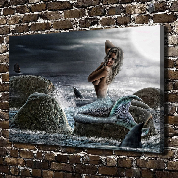 "Mermaid Painting HD Canvas Print 16/""x24/"" Home Decor Room Wall Art Pictures"
