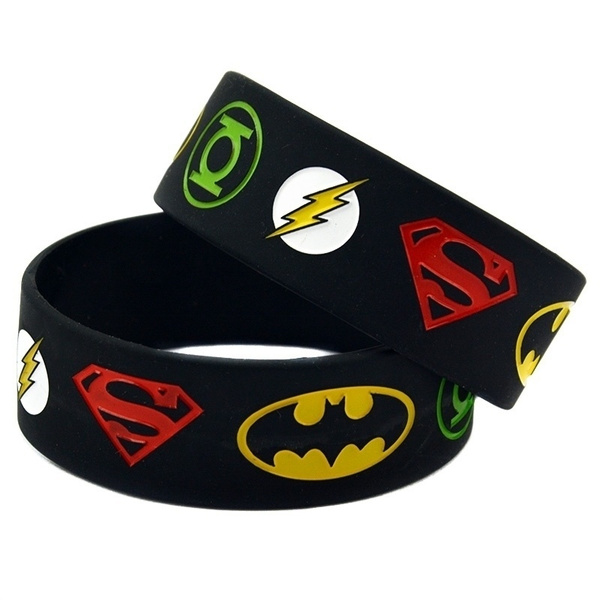 1pc Super Heroes Silicone Bracelet With Superman Batman Green Lantern The Flash Alternative Design Wristband For Young Wish