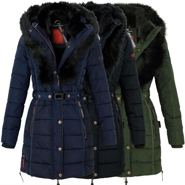 reputable site 98e56 33f1e Marikoo Turnam Damen Winter Jacke Steppmantel Parka Fell Kragen Warm  Gefüttet