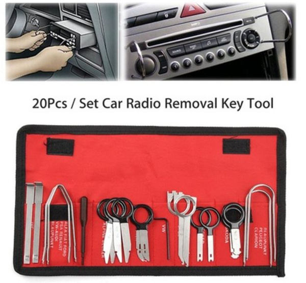 20Pcs Professional Car Radio Stereo Audio CD Player Removal Install Key Tool Kit