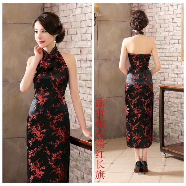 Chinese National Long Cheongsam Plum Plus Size Satin Vintage Costume Halter  Dress Socialite Elegant Women Dresses Qipao