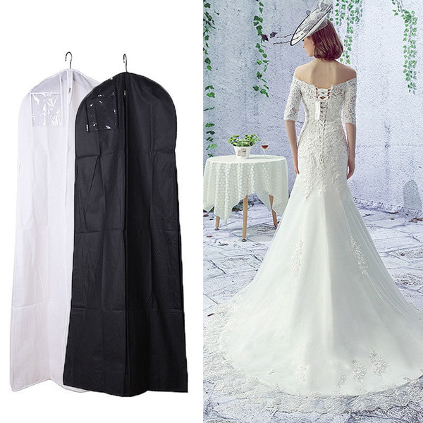 Fashion Wedding Dress Bridal Gown Garment Bag Dustproof Breathable Cover Storage Closet Organizer