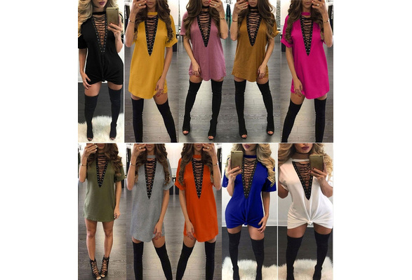 2018 Women Fashion Sexy V-neck Hollow Short Sleeves Solid Color Cotton Nightclub T-shirt Dress
