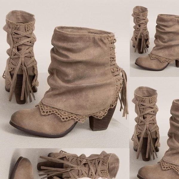 Picture of Fashion Women Casual Sexy High Heels Pointed Toe Lace Patchwork Lace Up Buckled Boots Casual Shoes Booties