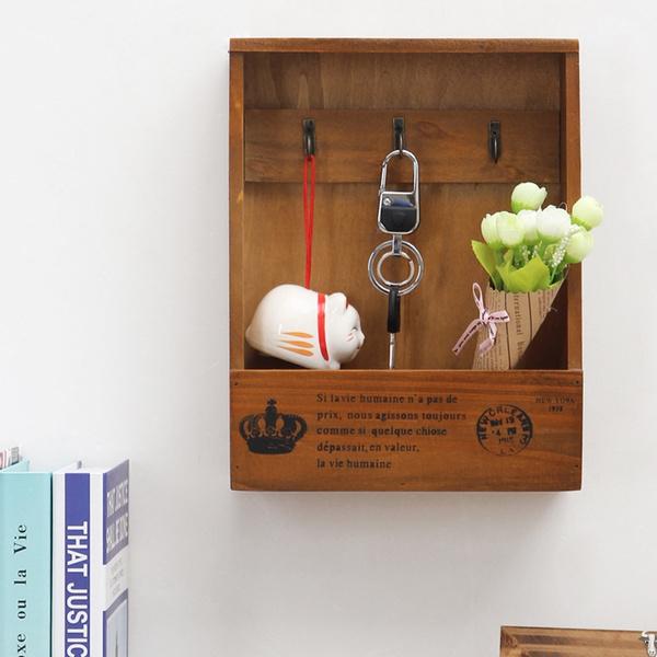Wish | Wooden Shelf Multifunctional Storage Rack Retro Key Box Wall ...