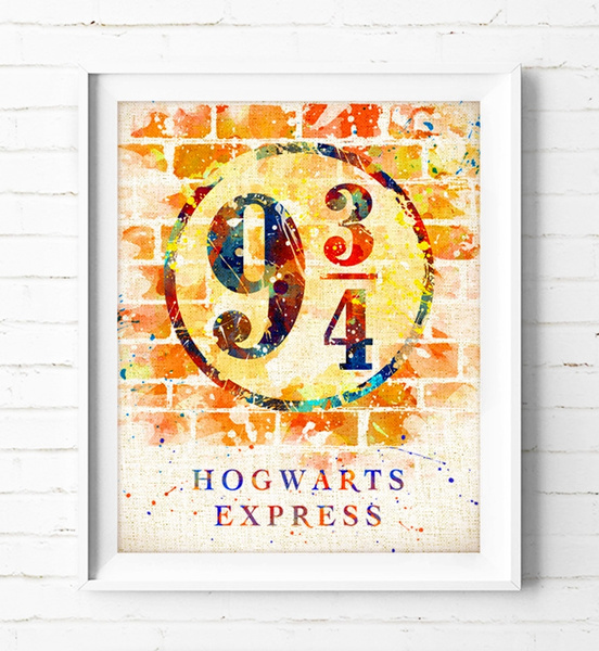 picture regarding Hogwarts Express Printable titled Harry Potter - Watercolor Portray Hogwarts Convey System Poster Burlap Print Wall Artwork Harry Potter System 9 3/4 Print House Decor Little ones Exceptional