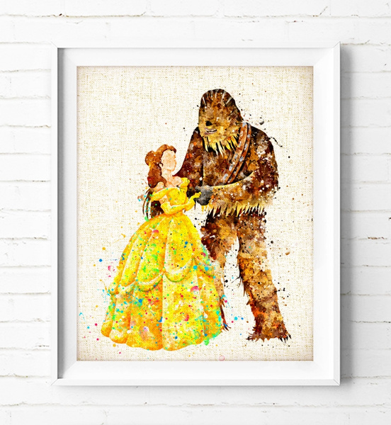 Wish | Princess Belle Beauty and the Beast Chewbacca - Watercolor ...