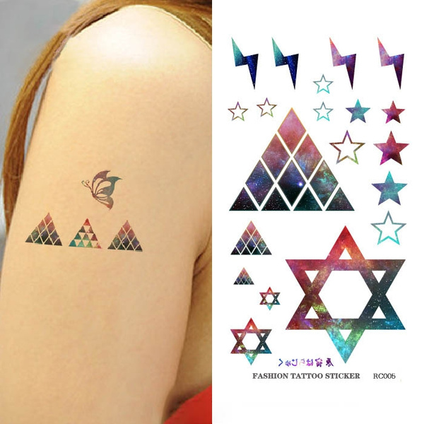 fb5b45e5081bc 2 Sheets Galaxy Style Geometric Pentagram Tattoos stickers ...