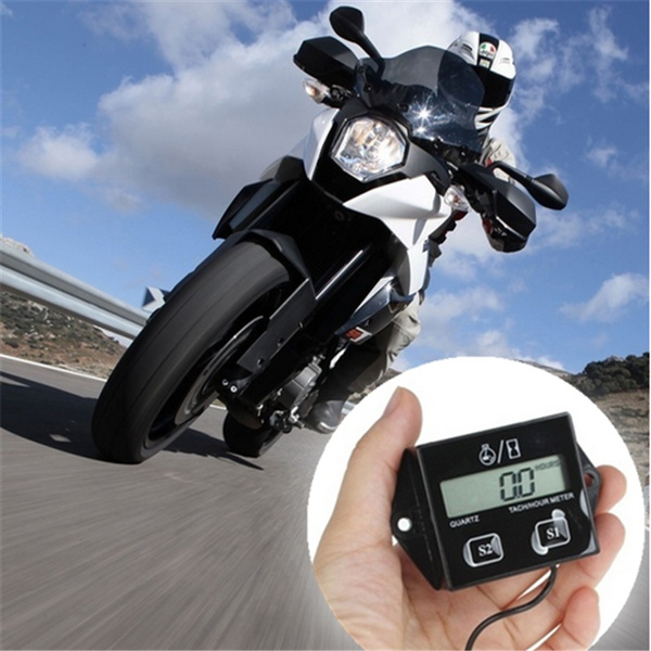 HEXIANG 12V 5W Digital Engine Tach Tachometer Outboard Hour Meter ATV  Generator for Motorcycle