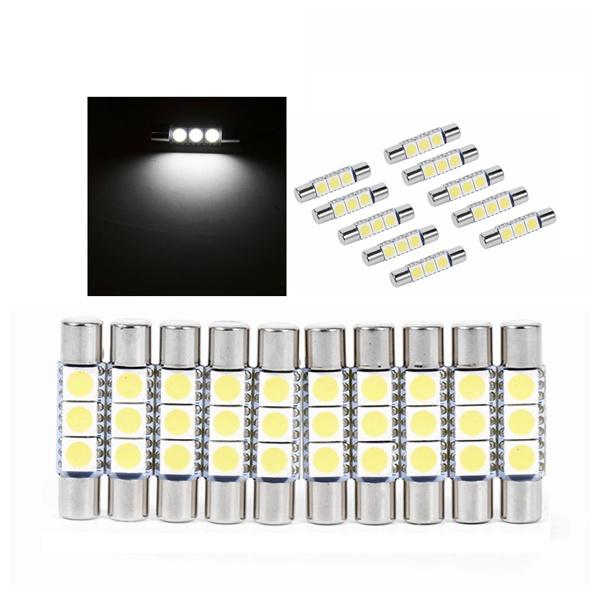 LED Light Bulb-10Pcs 3-SMD 29-30mm 6641 Fuse LED Bulb Vanity Mirror Light Sun Visor Lamp White