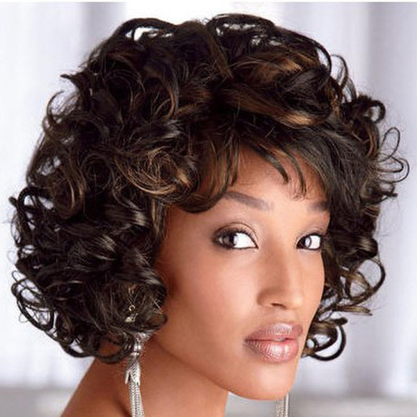 Wish | Short Afro Curly Wig Synthetic Wigs For Women African ...