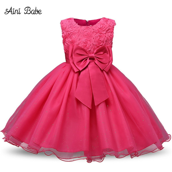 wish aini babe childrens christmas dresses for girls wedding party baby girl princess birthday baptism dress teenager girl clothing