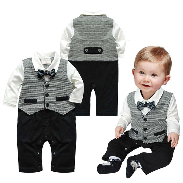 Newborn Kids Baby Boys Outfits Jumpsuit Romper Bodysuit Gentleman Clothes Infant