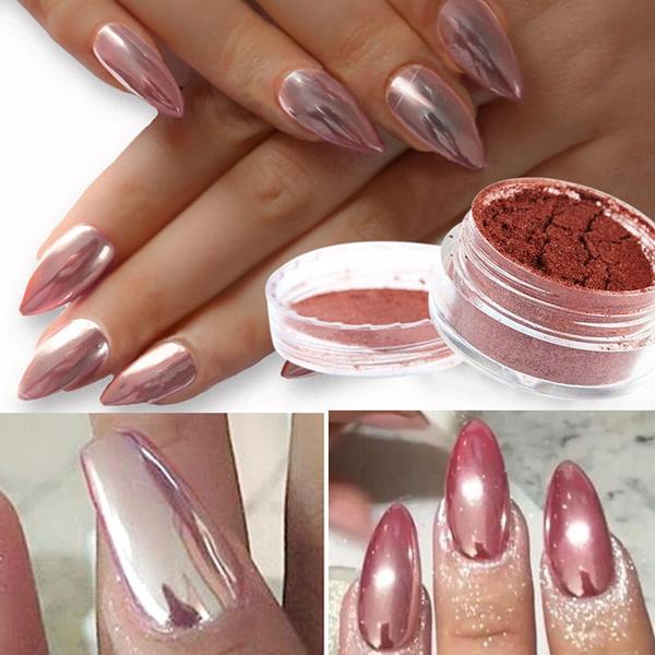 Wish 2g Rose Gold Chrome Mirror Nail Powder Based On Pink Uv Gel Silver Pigment Ultrafine Glitter Aluminium Art Decoration For