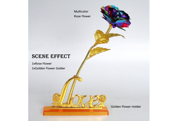 24cm Handcrafted Handmade 24k Gold Foil Rose Flower Dipped Long Stem Lovers Wedding Gift 1 Piece