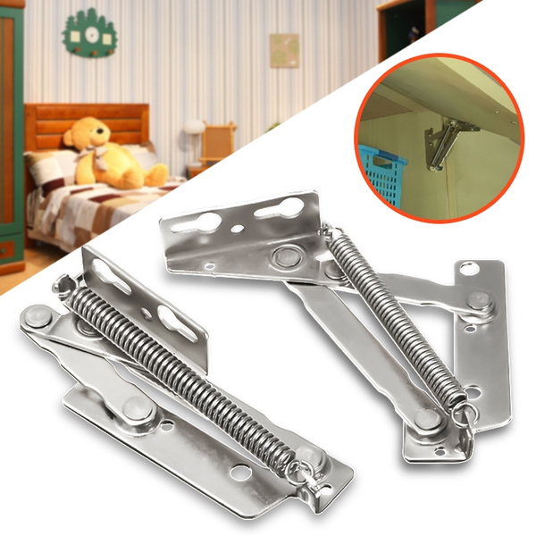 2pcs 80° Sprung Hinges Kitchen Cabinet Cupboard Closet Door Lift Up Stay  Flap Top Support