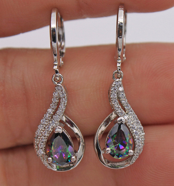 Picture of 18k White Gold Filled - Mystical Topaz Hollow Waterdrop Lady Dangle Cocktail Earrings