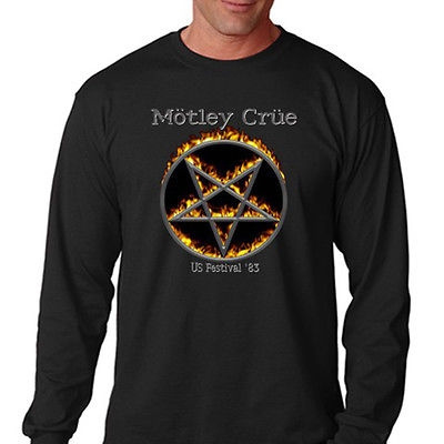 New MOTLEY CRUE US Festival /'83 Rock Metal  Men/'s Black T-Shirt Size S to 3XL