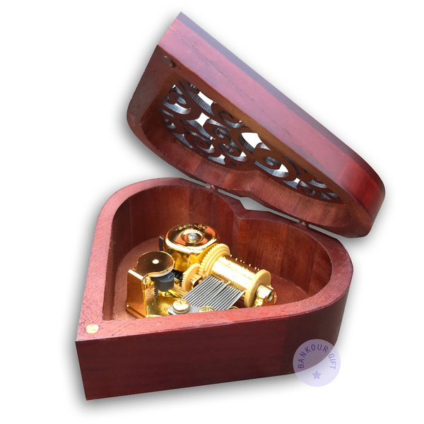 Picture of Play Beauty And The Beast Brown Heart Shape Music Box With Sankyo Musical Movement Size Pack Of 1 Color Brown