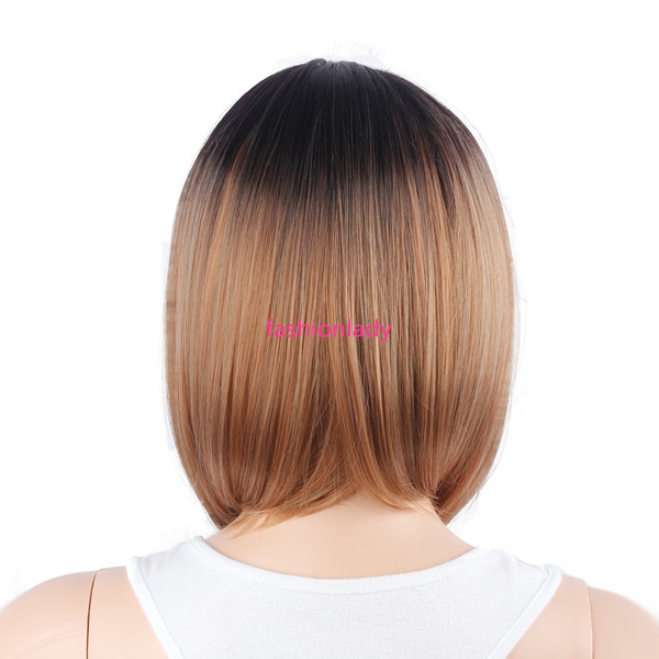 Wish 2018 New Fashion Wig African American Women Wig Ombre Short