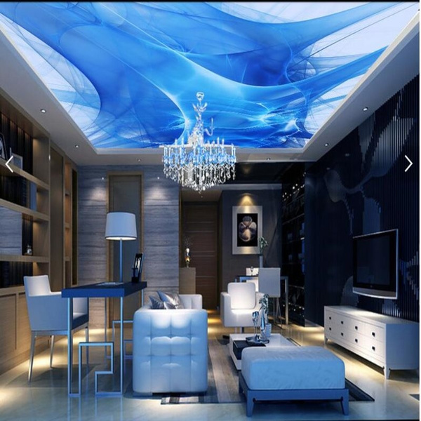 Behang Slaapkamer Blauw.Grote Schaal Custom Plafond Muurschilderingen Behang Woonkamer Slaapkamer Abstract Blauw Dazzle Dynamische Mode Plafond Muur Papier