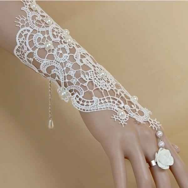 Wish   1 Paire Mitaines De Mariée En Dentelle Gants Nouvelle Vente Chaude  De Mode Blanc, Ivoire Mariée Gants De Mariée Avec Anneau Bracelet bfcf760d7b20