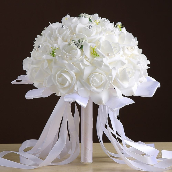 Top Qualite Rose Mariee Bouquet Cristal Ruban Blanc Et Rouge Artificielle Bouquets De Mariage Bouquet Mariage