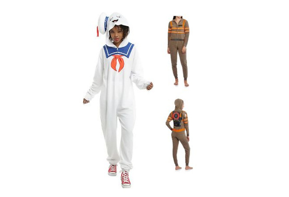 fac38345b6 Ghostbusters Adult Onesie Fleece Footed Pajama One-Piece PJ Sleepwear US  Size Fit  S-XL. Stay Puft Marshmallow man or ghostbuster
