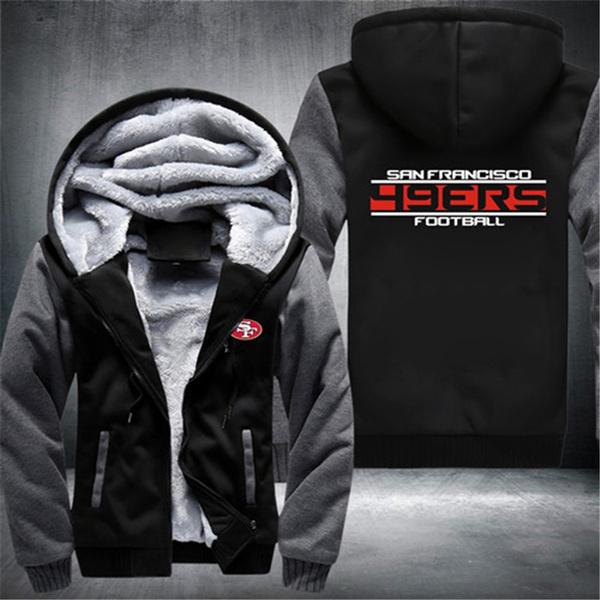 big sale 7591f 49fcc San Francisco 49ers Thickened Zipper Hoodie Coat Cashmere Hoodies Warm  Winter Jacket Plus Size