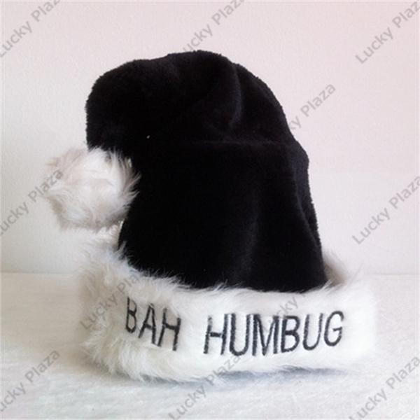 643eeba09ea4e Bah Humbug Scrooge Santa Hat Black White Soft Christmas Costume