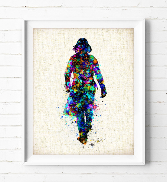 Harry Potter Severus Snape - Watercolor Painting Harry Potter Poster Burlap  Print Wall Art Severus Snape Print Kids Home Decor Housewarming Gift